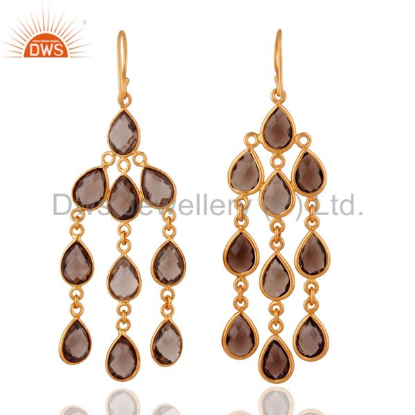 Exporter 18K Yellow Gold Plated Faceted Smoky Quartz Chandelier Brass Earrings