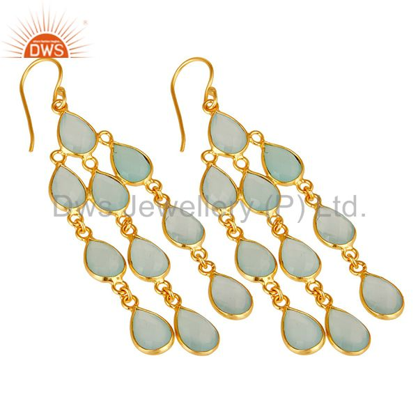 Wholesalers 18K Yellow Gold Plated Sterling Silver Dyed Chalcedony Gemstone Dangle Earrings