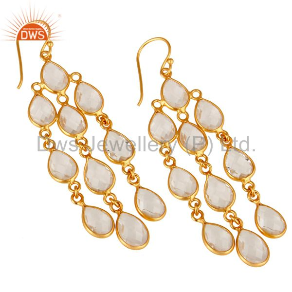 Exporter 18K Yellow Gold Plated Sterling Silver Crystal Quartz Fashion Chandelier Earring