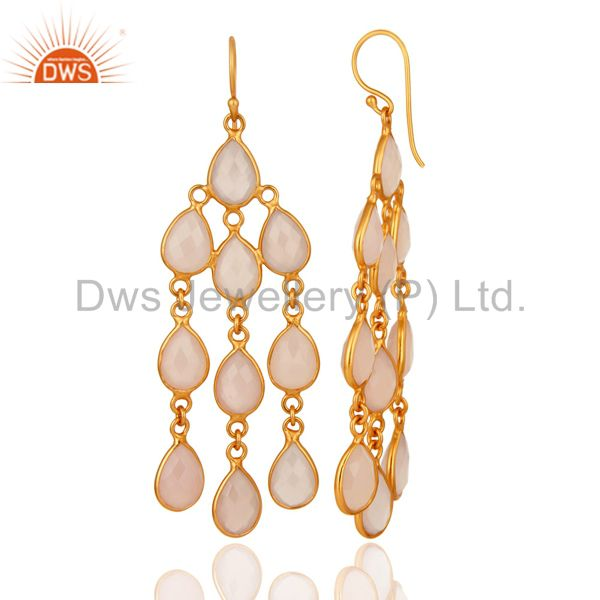 Exporter 18K Yellow Gold Plated Sterling Silver Rose Chalcedony Chandelier Earrings