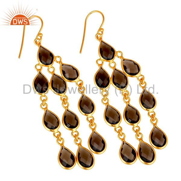 Exporter Oxidized Sterling Silver Smoky Quartz Gemstone Fashion Chandelier Earrings
