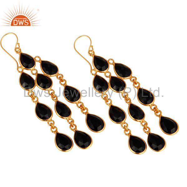 Wholesalers 18K Yellow Gold Plated Sterling Silver Black Onyx Chandelier Earrings