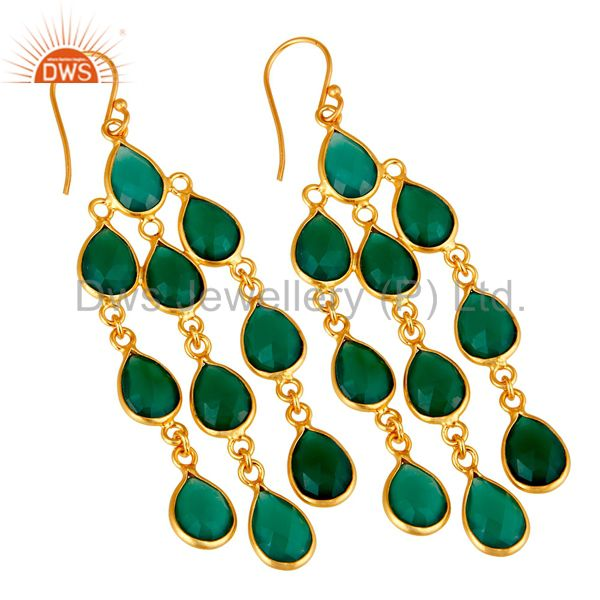 Wholesalers 18K Yellow Gold Plated Sterling Silver Green Onyx Bezel Set Chandelier Earrings