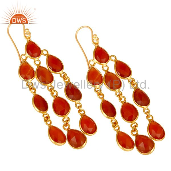 Wholesalers 18K Yellow Gold Plated Sterling Silver Red Onyx Gemstone Chandelier Earrings