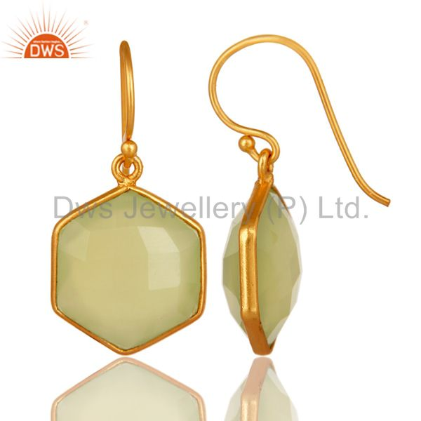 Faceted Green Chalcedony Gemstone Earrings In 18K Gold On Sterling Silver From Jaipur India