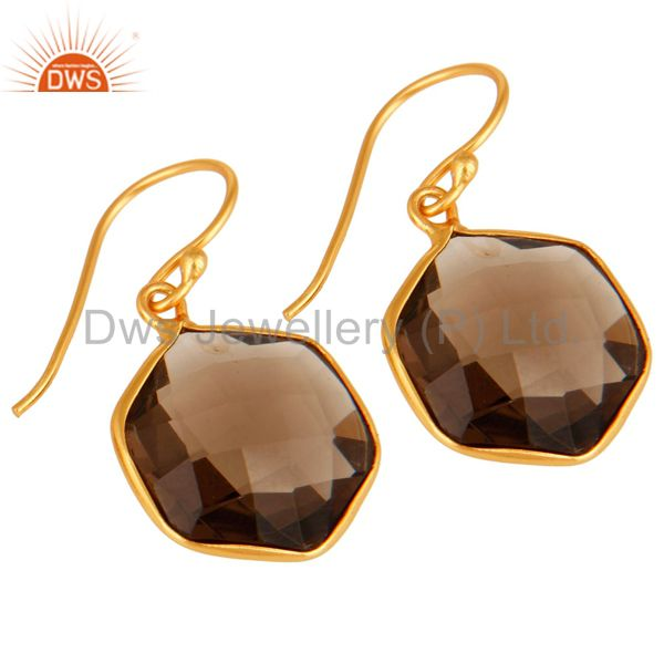 Wholesalers Smoky Quartz Faceted Hexagon Shaped 18K Gold On Sterling Silver Dangle Earrings