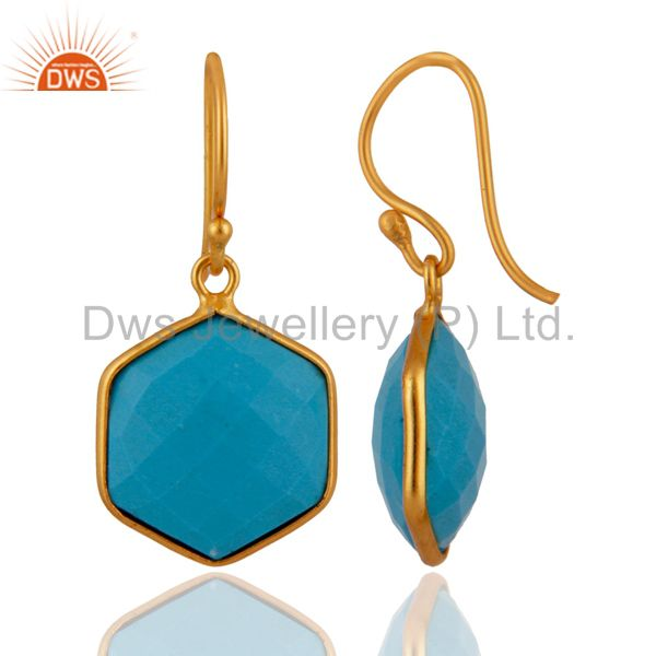 Exporter 18K Yellow Gold Plated Sterling Silver Turquoise Bezel Set Hexagon Drop Earrings