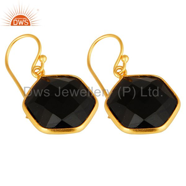 Wholesalers 18K Yellow Gold Plated Sterling Silver Black Onyx Gemstone Drop Earrings