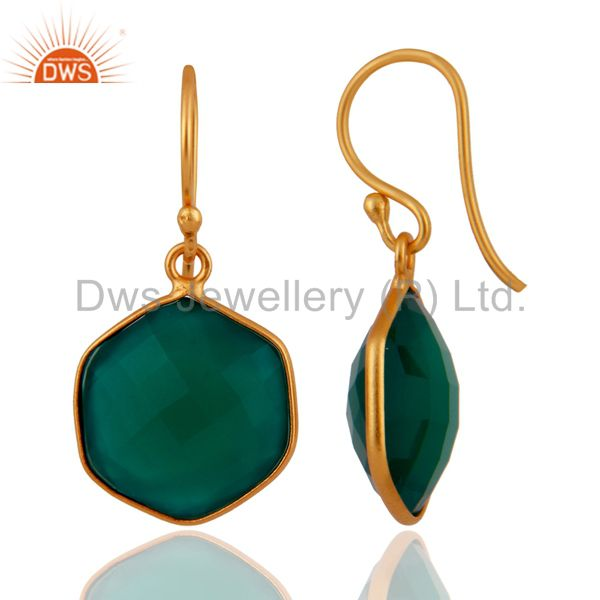 Suppliers Faceted Green Onyx Bezel Set Gemstone Sterling Silver Earrings With Gold Plated
