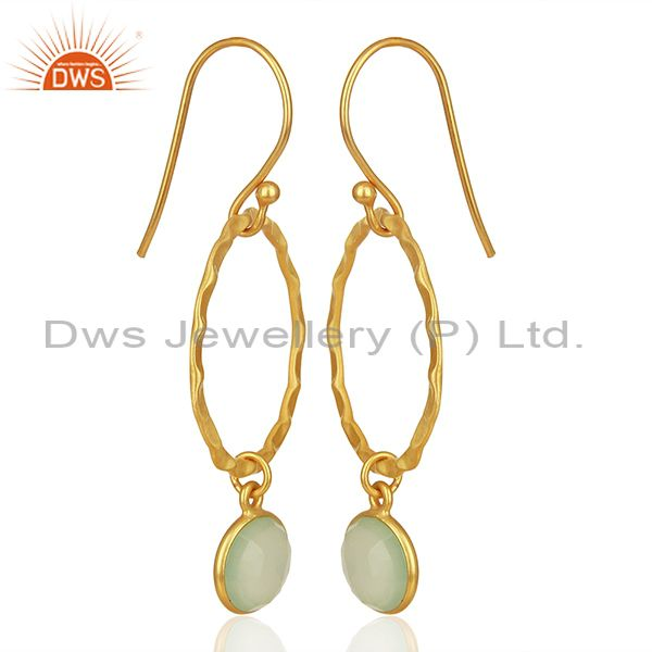 Exporter Handmade Sterling Silver Gold Plated Chalcedony Gemstone Earrings