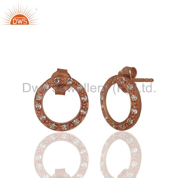 Exporter Rose Gold Plated White Topaz Circle Stud Earrings Manufacturer