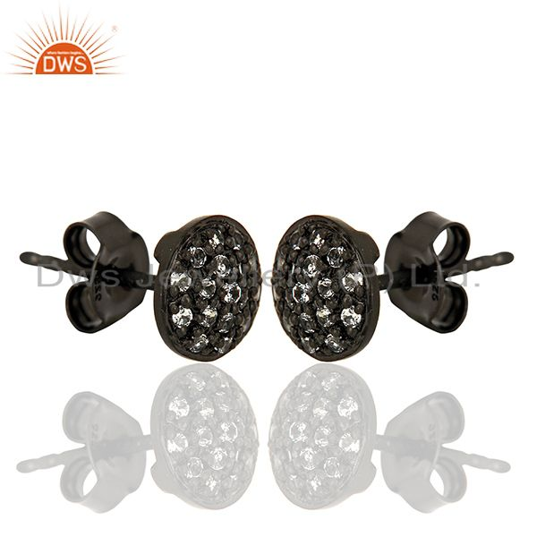 Exporter Oxidized Solid Sterling Silver White Topaz Stud Earrings For Womens