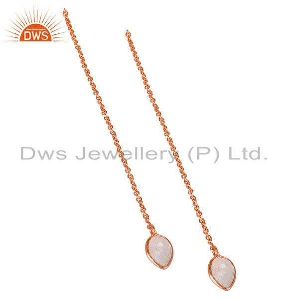 Exporter Rainbow Moonstone Rose Gold Plated Brass Chain Earrings Supplier Jaipur