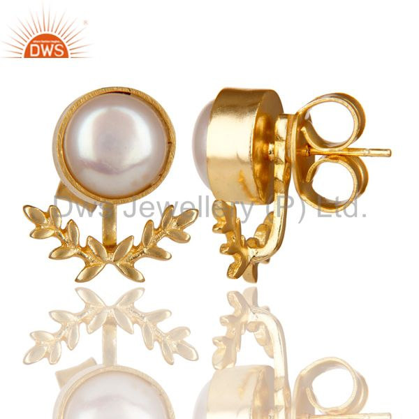 Exporter 14K Gold Plated Handmade Perfect Fashion Design Pearl Studs Brass Earrings