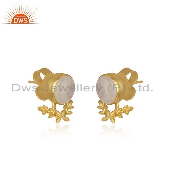 Exporter Rainbow Moonstone Gold Plated Brass Fashion Stud Earring Manufacturer