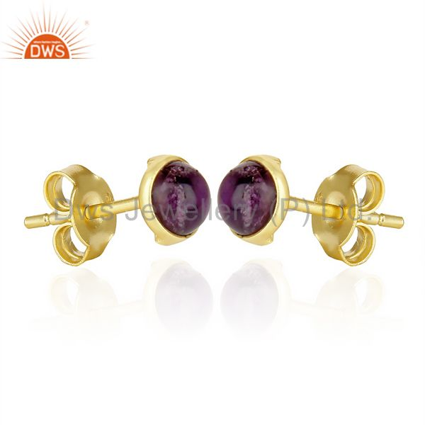 Exporter 14k Yellow Gold Plated 925 Sterling Silver Amethyst Stud Earring Gift Jewelry