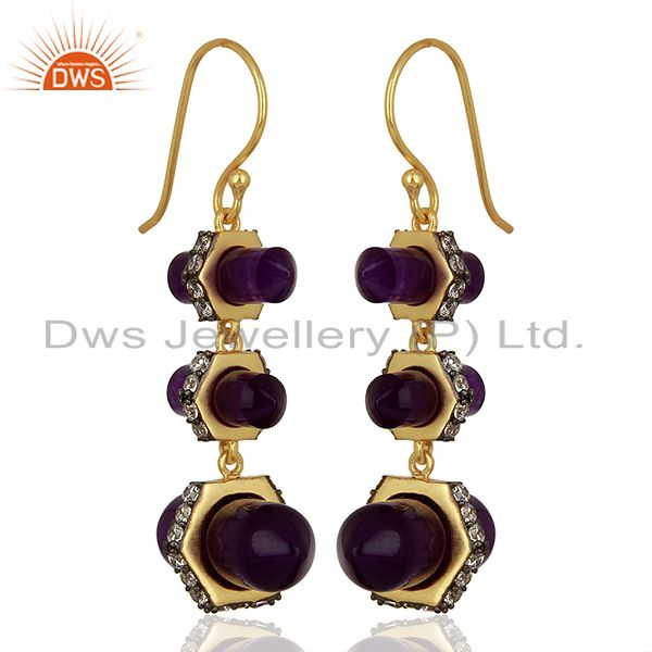 Exporter Aventurine Gemstone CZ Brass Earrings Fashion Jewelry Manufacturer