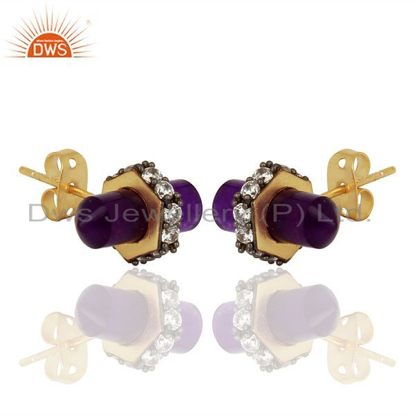 Exporter Aventurine Gemstone Womens Fashion Stud Earrings Jewelry Supplier