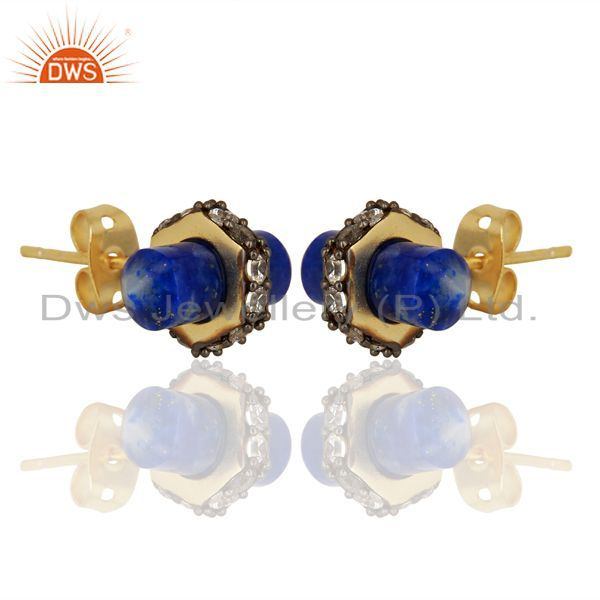 Exporter Lapis Gemstone CZ Stud Earring Handmade Fashion Earring Supplier