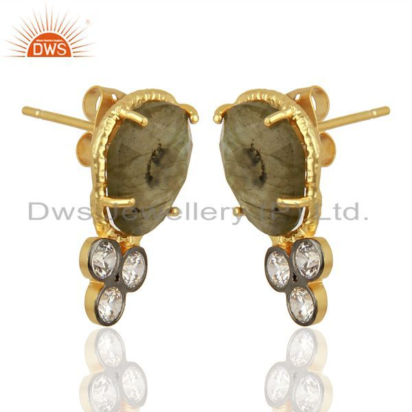 Exporter CZ & Labradorite Gemstone Gold Plated Fashion Stud Earring Manufacture