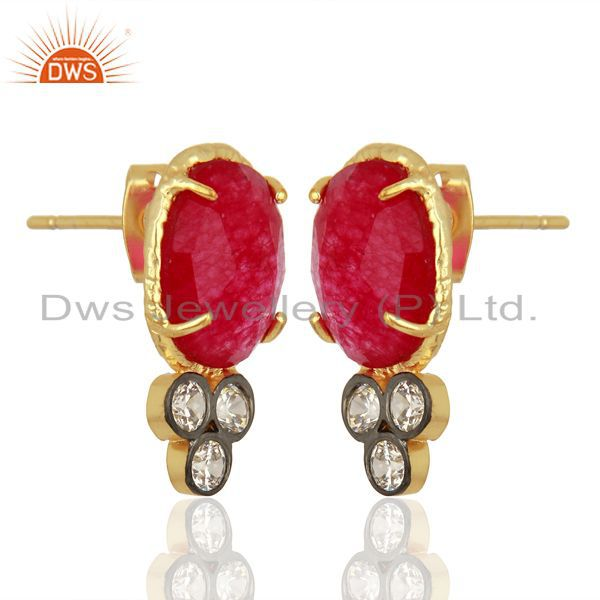 Exporter Red Aventiurine Gemstone CZ Gold Plated Fashion Stud Earrings