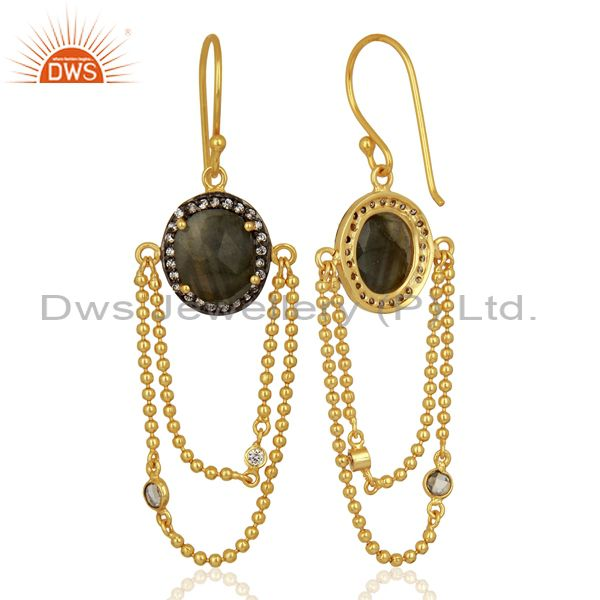 Exporter Natural Labradorite Gemstone Gold Plated Chain Fashion Earrings