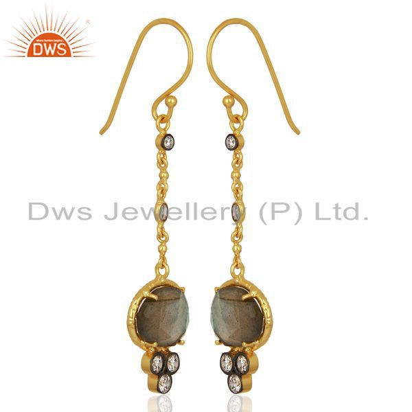 Exporter Handmade Gold Plated CZ Natural Labradorite Gemstone Drop Earrings