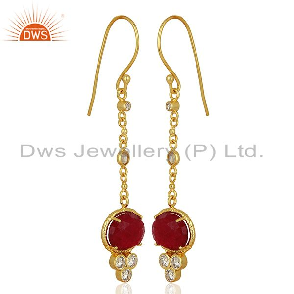 Exporter CZ Red Aventurine Gemstone Gold Plated Brass Earrings Supplier