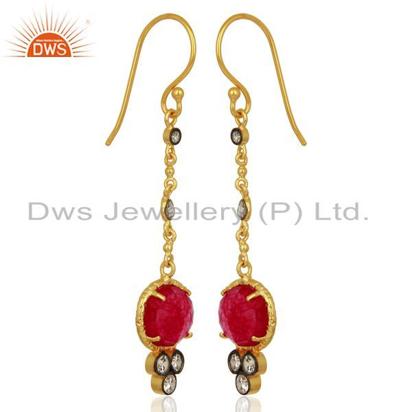 Exporter Red Aventiurine Gemstone Gold Plated Fashion Earrings Manufacturer