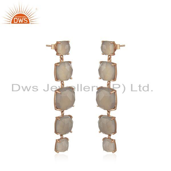 Exporter Handmade 925 Silver Gold Plated Gray Chalcedony Gemstone Earrings Manufacturer