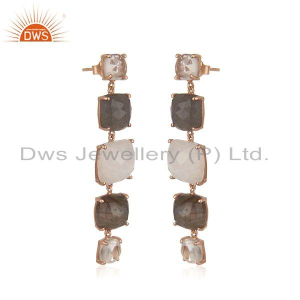 Exporter 92.5 Sterling Silver Rose Gold Plated Multi Gemstone Earring Manufacturer India