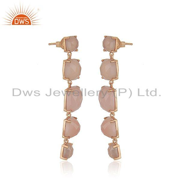 Exporter Rose Chalcedony Gemstone 925 Silver Rose Gold Plated Earrings Suppliers India