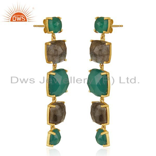 Exporter Prong Setting Labradorite and Green Onyx Gemstone 925 Silver Gold Plated Earring