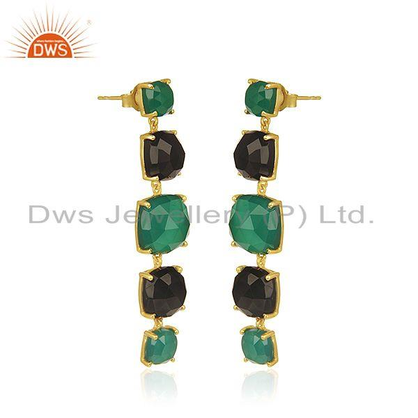 Exporter Gold Plated 925 Silver Gold Plated Multi Gemstone Dangle Earrings Supplier India