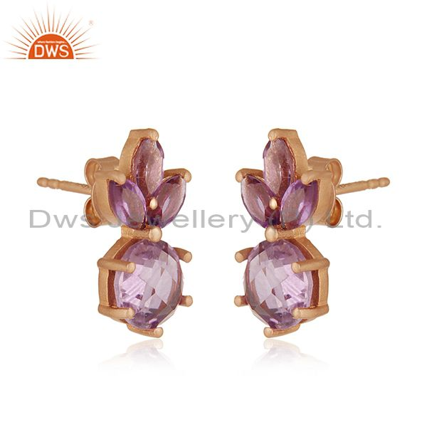 Exporter Natural Amethyst Birthstone Rose Gold Plated 925 Silver Stud Earrings Wholesale
