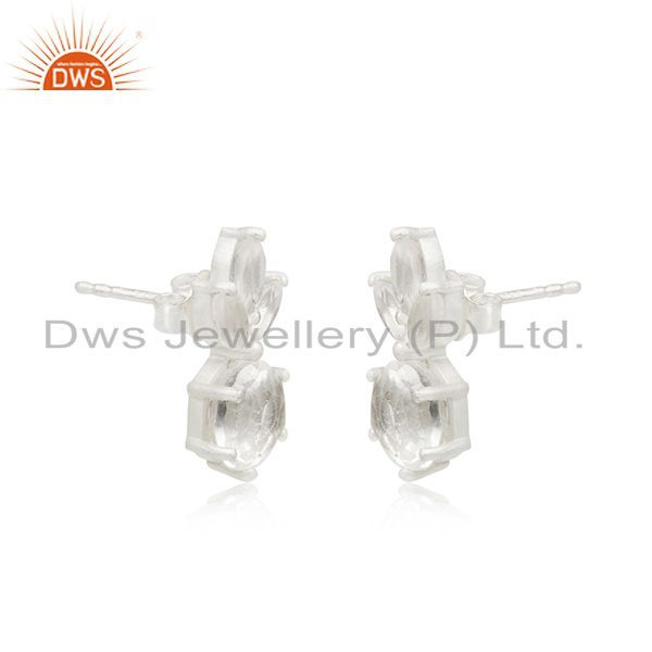 Exporter Crystal Quartz Stone 92.5 Sterling Silver Stud Earrings Manufacturer India