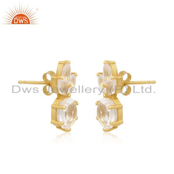 Exporter Crystal Quartz Stone 92.5 Silver Gold Plated Handmade Stud Earrings Suppliers