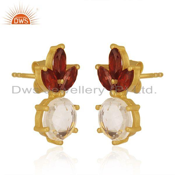 Exporter Garnet and Crystal Quartz Gemstone 925 Silver Gold Plated Stud Earring Wholesale
