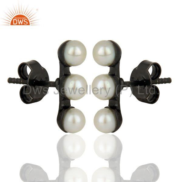 Exporter White Pearl Black Rhodium Plated Brass Fshion Stud Earrings Wholesale