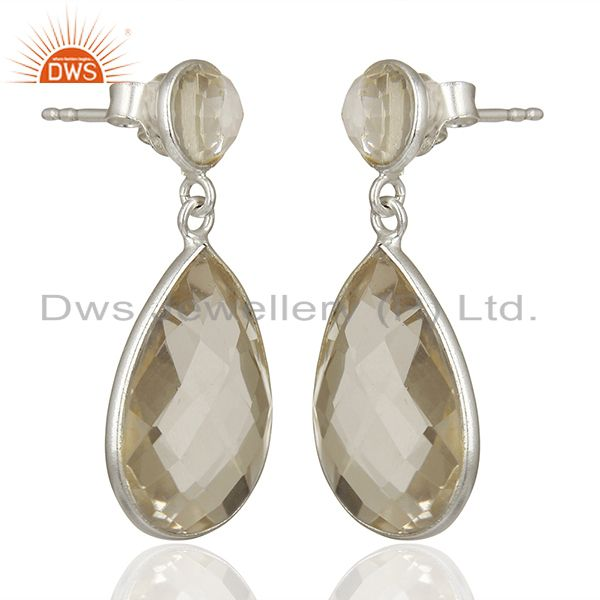 Exporter 925 Fine Silver Crystal Quartz Earrings Gemstone Jewelry Manufacturer