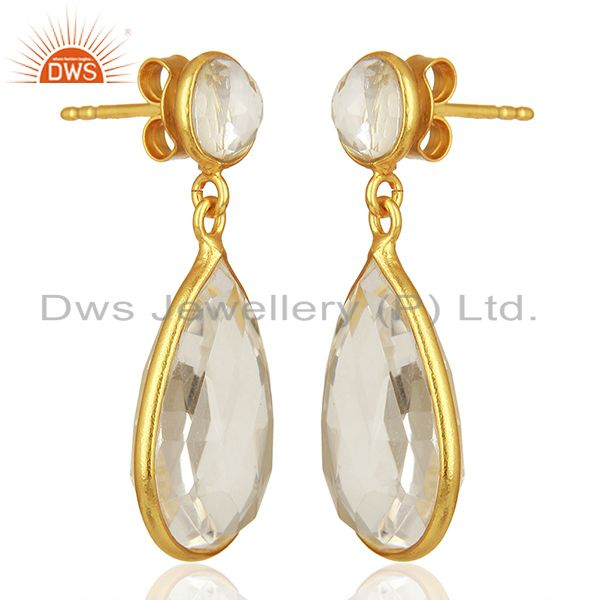 Exporter Handmade 925 Silver Gold Plated Crystal Quartz Drop Earrings Supplier