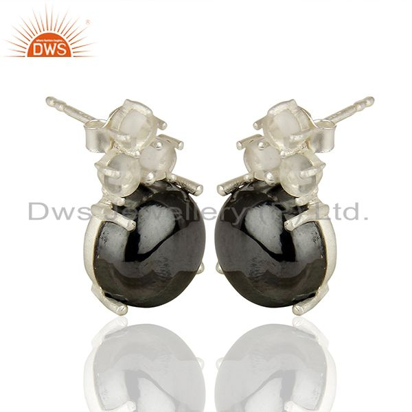 Exporter Handmade Prong Setting Multi Gemstone Silver Earrings Manufacturers