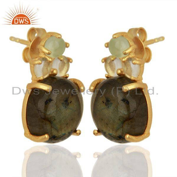 Exporter Labradorite Prehnite Chalcedony Crystal Quartz  Gold Plated 925 Silver Earrings