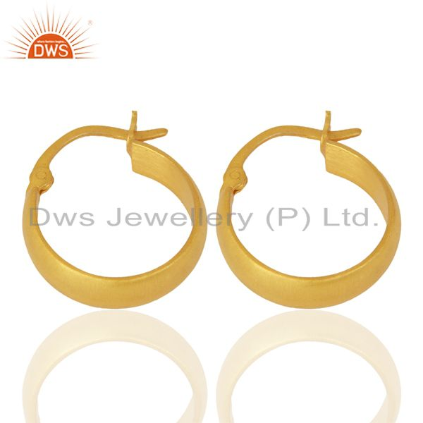 Exporter 18K Yellow Gold Plated 925 Sterling Silver Handmade Design Hoop Earrings Jewelry