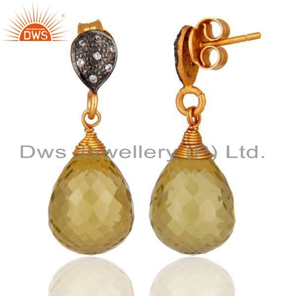 Exporter CZ and Lemon Topaz Gemstone Gold Plated Silver Earrings Jewelry