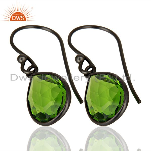Exporter Wholesale Glass Peridot Gemstone Black Rhodium Plated Silver Earrings