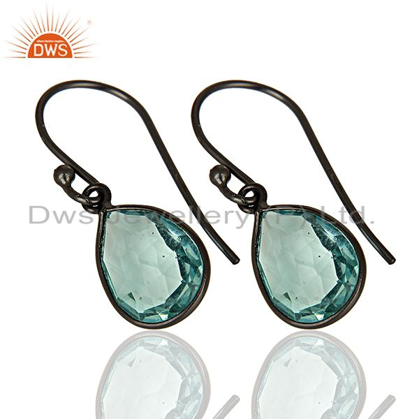Exporter Rhodium Plated 925 Silver Glass Blue Topaz Gemstone Earrings Supplier