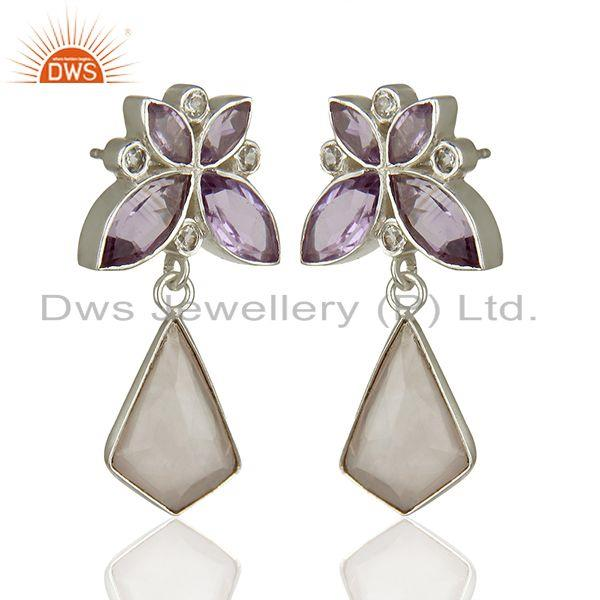 Designers Amethyst and Rose Quartz Gemstone 925 Sterling Silver Earrings Jewelry