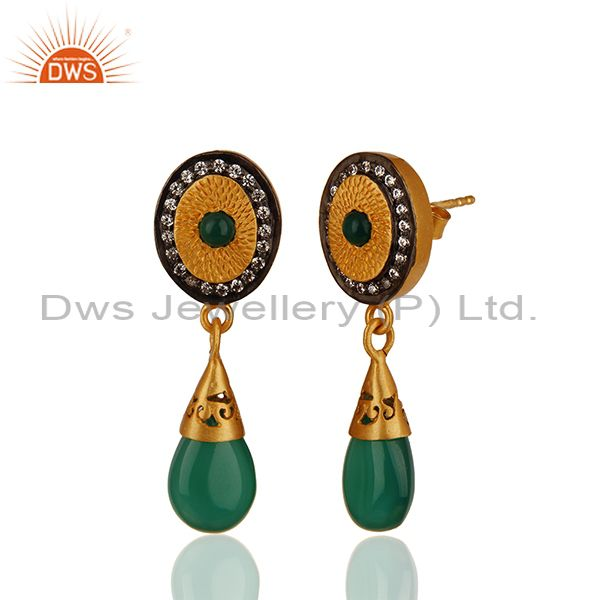 Exporter Green Onyx and Zircon Gemstone 925 Silver Drop Earrings Manufacturer