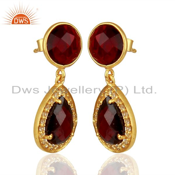 Exporter White Topaz and Garnet Gemstone Earring Customized Jewelry Suppliers